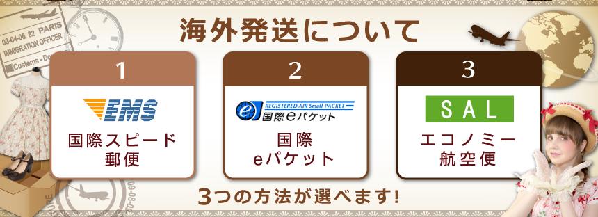 海外発送について[EMS][国際eパケット][エコノミー航空便]3つの発送方法が選べます。
